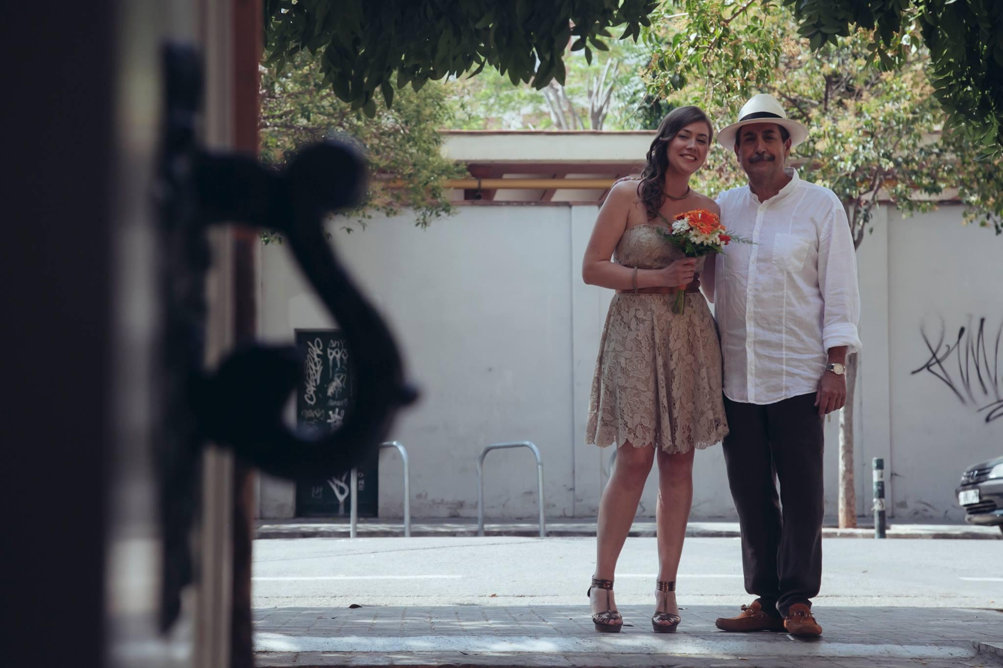 La novia y el padre en el día de la boda